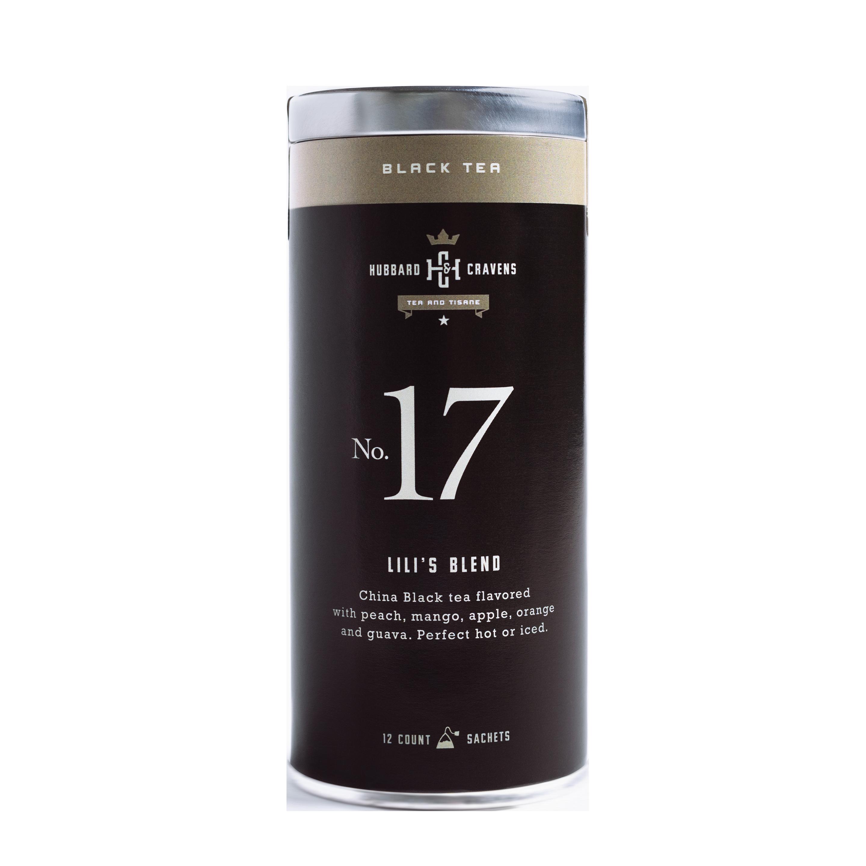 Black tea, lili's blend tea tin on transparent background
